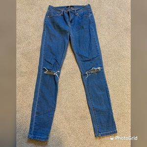 Forever 21 ripped light blue jeans